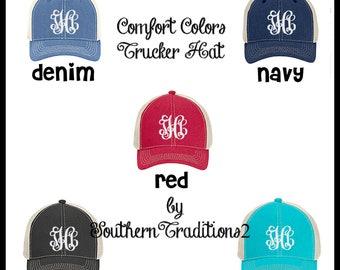 Comfort Colors Trucker Hat - Monogram Trucker Hat - Ladies Trucker Hat