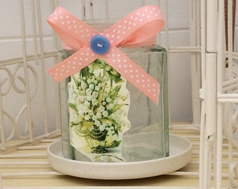 Pretty Lily Of The Valley Candle Jar
