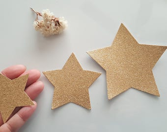 Twinkle Stars( 8in,5in, 4in, 3in )Pick Colors/star die cuts/Glitter Gold star die cuts/First birthday decor/Stars tags/Gold star cutouts