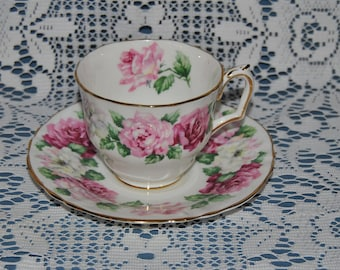 """Beautiful Vintage, Crown Staffordshire """"Trinity Rose', Fine Bone China Teacup And Saucer"""