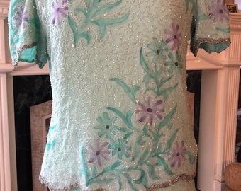Laurence Kazar,beaded dress, Long ,Beaded,  Painted Dress, Size 12 ,12,Seafoam Green