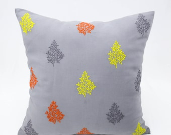 Leaves Throw Pillow Cover, Gray Linen Leaves Embroidery, Geometric Cushion, Modern Contemporary Home Decor, Decorative pillow for couch