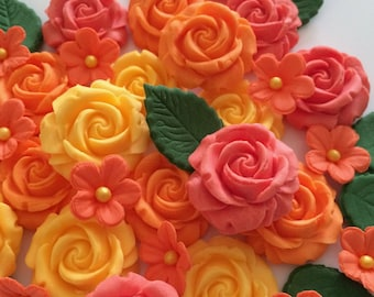 ORANGE PEACH APRICOT Roses Edible Sugar Flowers Cupcake Decorations Toppers