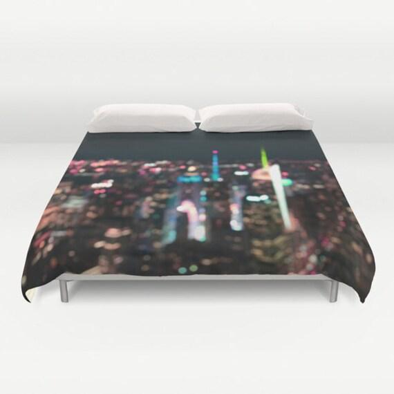 New York Manhattan, Time Square Duvet Cover, Decorative bedding, unique design, modern, urban bedroom, dorm bedding, city bokeh lights