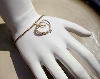 Vintage Gold Heart rhinestone bracelet