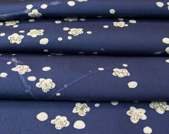 Japan Blue and White // Plum Blossoms // Japanese Kimono Fabric