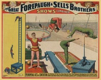 antique victorian circus poster contortionist acrobats illustration DIGITAL DOWNLOAD