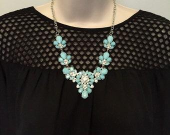 Mint Seafoam Aqua  Blue Crystal Sparkle Bib Chandelier Statement Necklace