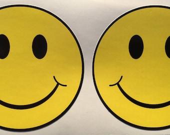 2 Smiley Face Diecut Window  Bumper Decals
