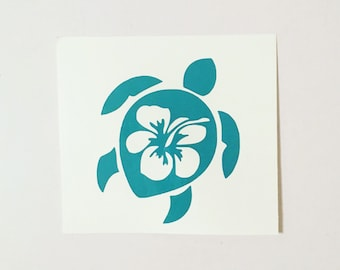 Hibiscus Decal, Hibiscus Sea Turtle Decal, Hibiscus Turtle Decal, Sea Turtle Decal, Summer Decal, Hawaiian Decal