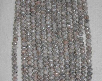 Moonstone, Moonstone Rondelle, Faceted Rondelle, Diamond Coating, Semi Precious, Sparkle Bead, Gemstone, Full Strand, 7 mm, AdrianasBeads