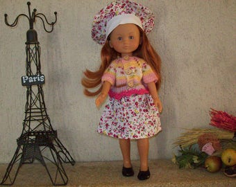 clothes for dolls 32/33 cm (skirt, sweater, beret) printed with pink flowers