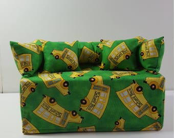 Hand-made School Bus Couch/Sofa Tissue Box Cover
