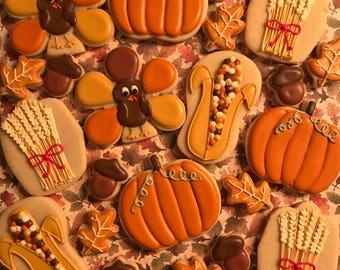 Thanksgiving Cookie Platter - Decorated Sugar Cookies - 2 dozen