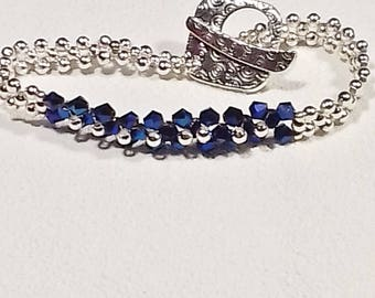 Chic blue and silver bracelet