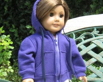18 Inch Doll Clothes American Girl or Boy - Purple Hooded Sweatshirt