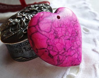 Heart pendant Jasper Fuchsia - offered: 1 strip of Black Suede - gift idea