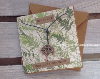 Tree of Life necklace/choker on a Gift Card and envelope