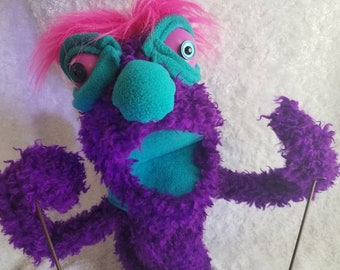 Quirky purple teal puppet arm rods removable pink hair