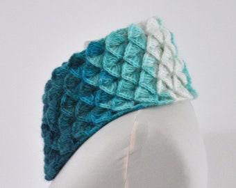 Scarf Cowl Neckwarmer Crochet Turquoise White Aqua Mohair Chic Elegant