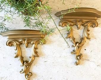Vintage Syroco Wall Sconce Shelves / gold wood shelf / Hollywood Regency