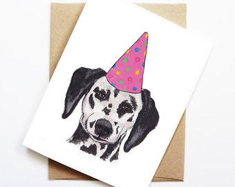 Birthday Card - Dalmatian, Dog Birthday Card, Cute Birthday Card, Dog Card, Bday Card, Kids Birthday Card, Friend Birthday Card