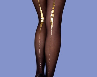 Charleston sheer black tights with gold print available in S-M L-XL