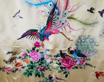 Birds and Flowers. Vintage Chines Embroidery By Hand in Charmeuse Silk.