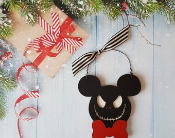 Mickey Mouse Jack Skeleton Christmas Ornament, Jack Skeleton, Mickey Mouse, Minnie Mouse, Disney Christmas Ornament