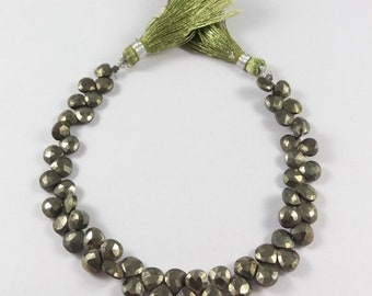 """Summer Sale 50% Natural Pyrite Faceted Heart Briolettes Heart Shape Beads - Natural Pyrite  Briolette , 6x6 mm , 8"""" , GSBr010"""