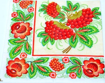 Decoupage Paper Napkins, Red Flower Paper Napkins, Ukrainian Ornament Paper Napkins for Decoupage, Mix Media, Ashberry Paper Napkins