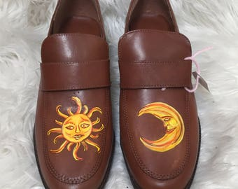 Hand Painted Sun & Moon Loafers