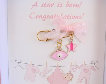 New Baby Girl Gift Pin Evil Eye  Pink Newborn Stroller Protection New Mommy Mom Star Charm Boxed and Ready for Gift Giving