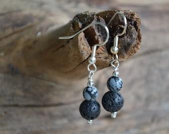 Snowflake Obsidian Diffuser Earrings