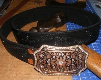 Custom Leather Upcycled Belt Embossed Floral Pattern Vintage Metal Buckle