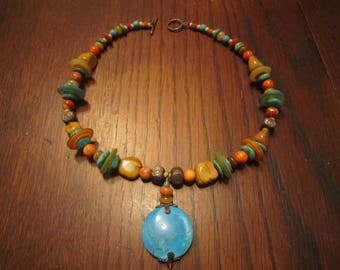 Colorful Southwestern Necklace with Stones and Glass