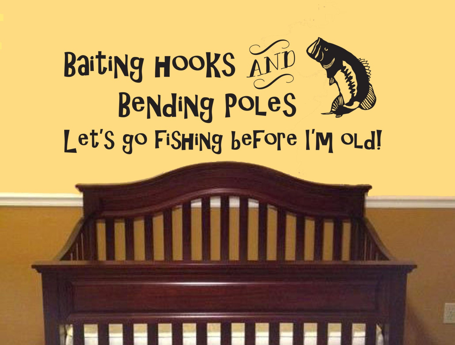 Baiting Hooks Bending Poles Lets Go Fishing Wall Decal-Boy