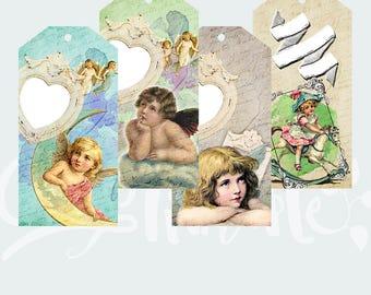 Vintage gift tags Digital collage sheet - Instant printable download / Best for paper craft, scrapbooking - ANGELS