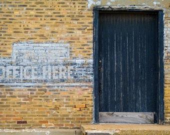 Office Architecture Photography,  Employment, 15.5 x 21 Color Giclée Print, Urban Photograph, Brick Wall, Black Door, Vintage Building