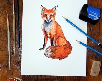 Sitting Fox - Archival quality print made from my original watercolor