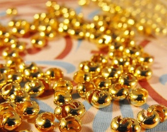 Mothers Day Sale 50 Pack Wholesale Lot of Gold Plated 3mm Crimp Cover Findings Great jewelry Supplies and FREE domestic shipping