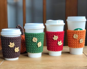 Fall Coffee Cup Sleeve - Crochet Coffee Cozy - Autumn Leaves - Fall Colors - Reusable Coffee Sleeve - Coffee Cup Sleeve - Coffee Cup Sleeve