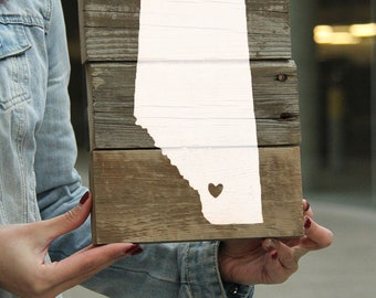 Ready to Ship // Mini Heart in Calgary Reclaimed Pallet Wood Sign