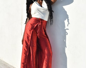 Silk Wrap Pants (Exotic Red)