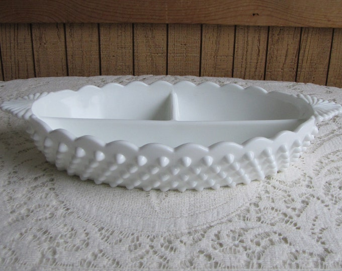 Fenton Milk Glass Hobnail Relish Dish Vintage Kitchens and Trays