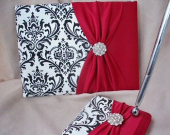 Damask Black White Apple Red Rhinestone Guest Book and Pen Set