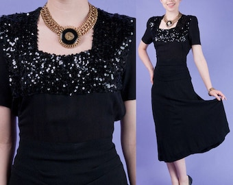BLACK SEQUIN Vintage 40s/WWII Crepe Rayon Peplum Party Dress/Gown M