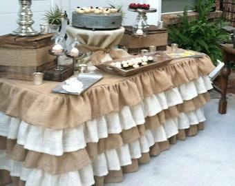 COSTOM Order 30 х 96 (8 Ft) Ruffled Burlap Tablecloths Decor French Country  Prairie