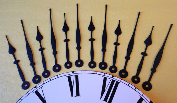 6 Pairs of Vintage Matte Black Painted Solid Brass Spade Design Clock Hands for your Clock Projects - Jewelry Making - Steampunk Art