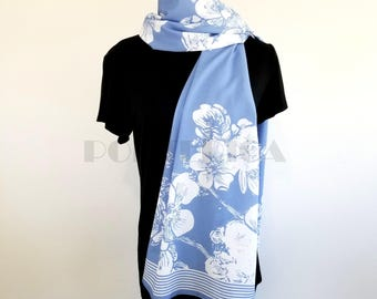Lavender and White Flowers and Butterflies Long Scarf